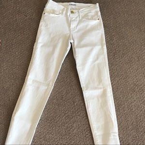 White skinny jeans frame denim size 24 in blanc